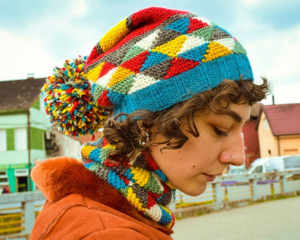 colorful hand knitted winter cap