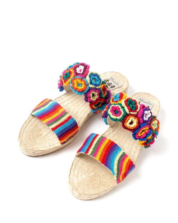 rainbow crochet strappy slippers