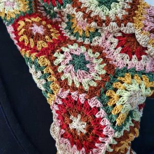 hand crochet colorful scarf